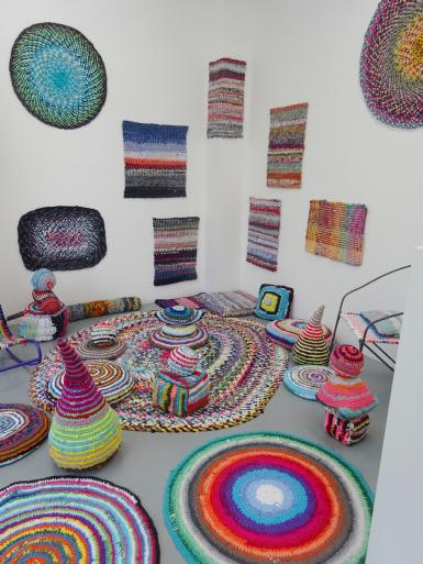 Installation, accumulation of many weaving results