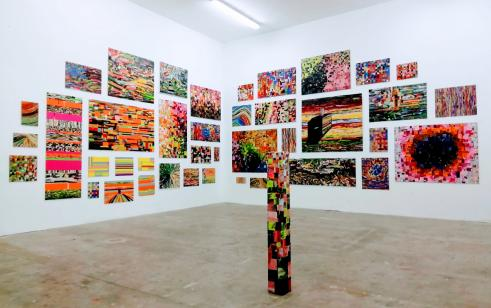 Installation, cut paintings, transformation of paintings